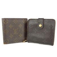 Auth LOUIS VUITTON M61675 M61667 Monogram Bifold Wallet Purse 2P Set F/S 12648b
