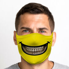 Yellow Smiley Mouth One Size Reusable Washable Breathable Face Mask From UK