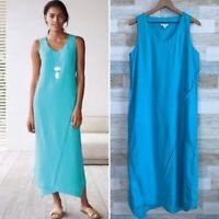 Pure J Jill Love Linen Asymmetric Panel Maxi Dress Blue Lagenlook Womens Medium