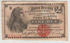 ITALIA BANCONOTA 2 LIRE BANCA TOSCANA 1870