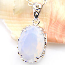 Special Jewelry Rainbow Fire Moonstone Retro Silver Charm Necklace Pendants