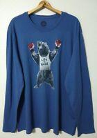 Life Is Good L/S Smooth Tee Shirt Men's XXL Bear Boxer Vintage Blue Lightweight