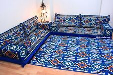 L SHAPED Oriental Floor Seating Sofa Blue White Arabic cushions Bohemian Couches