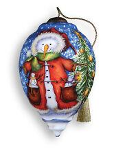 Meadow Friends Snowman Ornament Ne'Qwa Art Stockings Christmas Reverse Painted