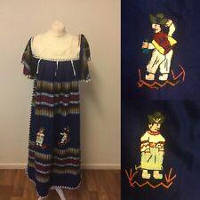 Vintage Embroidered Midi Dress Tunic Festival Bohemian Wacky Peasant Ethnic
