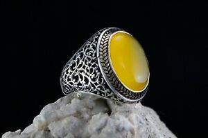 Yemeni Agate 925 Sterling Silver Ring Handmade New Ottoman Turkish Style Man#12