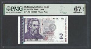 Bulgaria  2 Leva 1999 P115a Uncirculated Grade 67