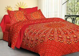 Hand Printed Cotton Mandala Duvet Cover Hippie Bohemian Bedding Quilt Comforter