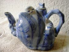 Teekanne chinesisch kunstvoll dösender Chinese handgemalt gemarkt