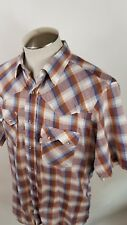 Vtg Levi's Men's Tapered Fit LARGE Western Pearl Snap  Plaid S/S  Shirt USA MADE