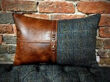 """Harris Tweed & Antique Leather Cushion With Horse Bit 20"""" X 14"""""""