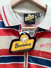 BUNDABERG RUM OFFICIAL WOMENS FAWN,BLUE/RED STRIPED POLO SHIRT $44.99rrp SIZE 10