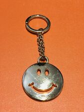 Moschino Italy Smiley Face Gold Tone Keychain