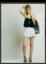 New $88 Free People Gray Austin Pleated Shorts Striped