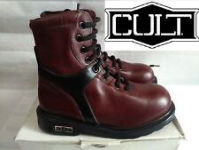 Cult Anfibio Stivale in Pelle Lacci Col. Bordeaux MADE IN ITALY N° 34  Nuovo