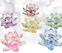 """3""""/80mm FengShui Crystal Lotus Glass Flower Paperweight Home Wedding Decoration"""
