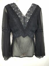 EXPRESS Size 5 6 Small Black Sheer Silk Lace Trim V Neck Long Sleeve Empire Top