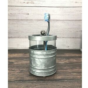 Autumn Alley Rustic Glass & Galvanized Farmhouse Toothbrush Holder