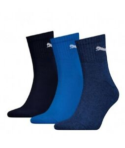 Puma Unisex Adults Short Crew Socks Sports Casual Cotton Blue Logo Pack Of 3 New