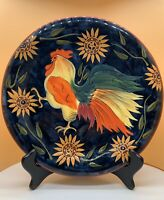 Certified International Susan Winget Rooster Hen Chicken Sunflower Plate 11""