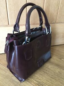 BEN DE LISI - Ladies Plum Patent Grab Bag Hand Held Bag Handbag Work Bag - VGC