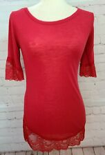 Intimately Free Women Shirt Small Free People Red Lace Trim Heathered Boat Neck