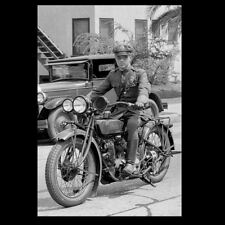 Vintage Indian Motorcycle Cop PHOTO 1930s Los Angeles Police Officer