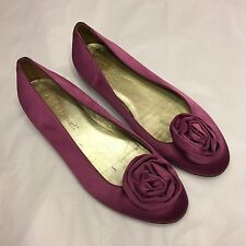 LK BENNETT pink satin rosette flats heel ballerinas 36 / UK 3 wedding formal