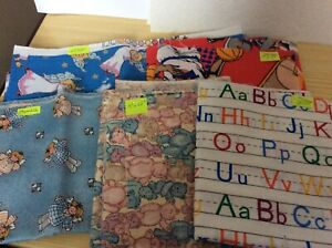 5 pcs cotton fabric from America. Sizes attached to each piece in photos.