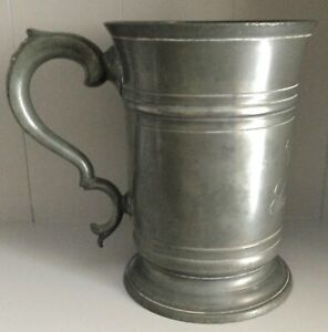 Victorian Quart Pewter Tankard. Collectible.