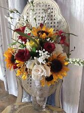 Wedding flowers bridal bouquet decorations sunflower burgundy red country weddin