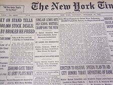 1930 DECEMBER 13 NEW YORK TIMES - SINCLAIR LEWIS ACCEPTS NOVEL PRIZE - NT 1669