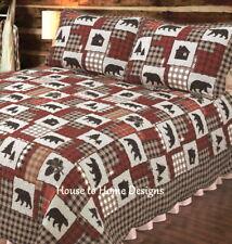 Black Bear Cabin 3pc Cal King Quilt Set : Red Black Buffalo Check Lodge Life