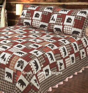 BLACK BEAR CABIN 3pc Cal King QUILT SET : RED BLACK BUFFALO CHECK LODGE LIFE