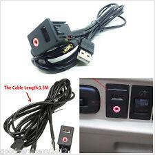 Vehicle Dash Flush Mount 3.5mm AUX Audio Refit Socket Install Adapter&1.5m Cable