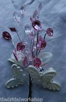 Wedding Flowers Crystal Diamante Beaded Butterfly Stem 20 Wired Heads