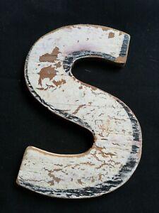 Letter S Sign Plaque Weathered Vintage