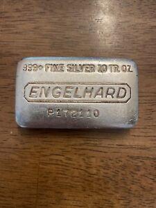 10 oz. ENGELHARD Silver Loaf Bar  .999 fine silver.  Nice Vintage Bar S# P172110