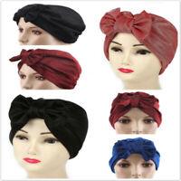 Stretch Hijab Turban Hat Scarf Head Wear Muslim Solid Bonnet Women Big Bow D