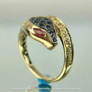 2Ct Round Cut Sapphire Ruby, Diamond New Snake Design Ring 14K Yellow Gold Over