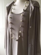 Damen Mode Kleid ärmellos mit Jacke lang grau, aus Italien, Größe 36 (ital. 42)