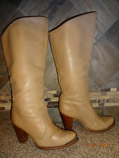 Vintage Womens Zodiac Sz 6.5M Tan Leather Cowboy Boots Stacked Heels Tips