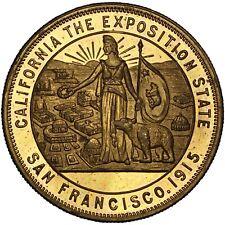 PANAMA-PACIFIC EXPO 1915 gilt bronze California Dollar / SH-18-4-GP & HK-414 var