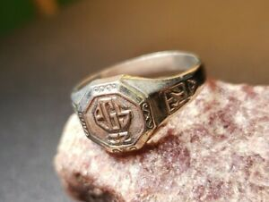 Class Ring 1932 Sterling Silver High School College RARE Antique Initials Signet