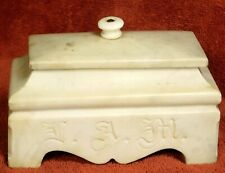 Antique Carved Marble Masonic Ashlar Sarcophagus  Footed Box Ashlar Folk Art OLD