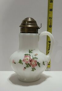 ANTIQUE WHITE MILK GLASS HAND PAINTED SYRUP PITCHER METAL TOP