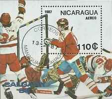 Timbre Sports d'hiver JO Hockey Nicaragua BF181A o lot 5734