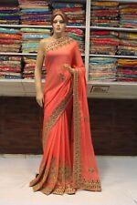 Bollywood Indian Ethnic Heavy Skirt Zircon Work Saree Sari Bridal Party Dress
