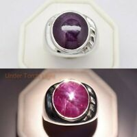 14.35ct Natural Red 6 Ray Star-Ruby Man Ring in 925 Sterling Silver