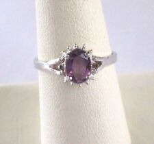 .925 Sterling Silver, 4X6mm Oval, 0.51tcw. Purple AMETHYST Ring, Size 7, New
